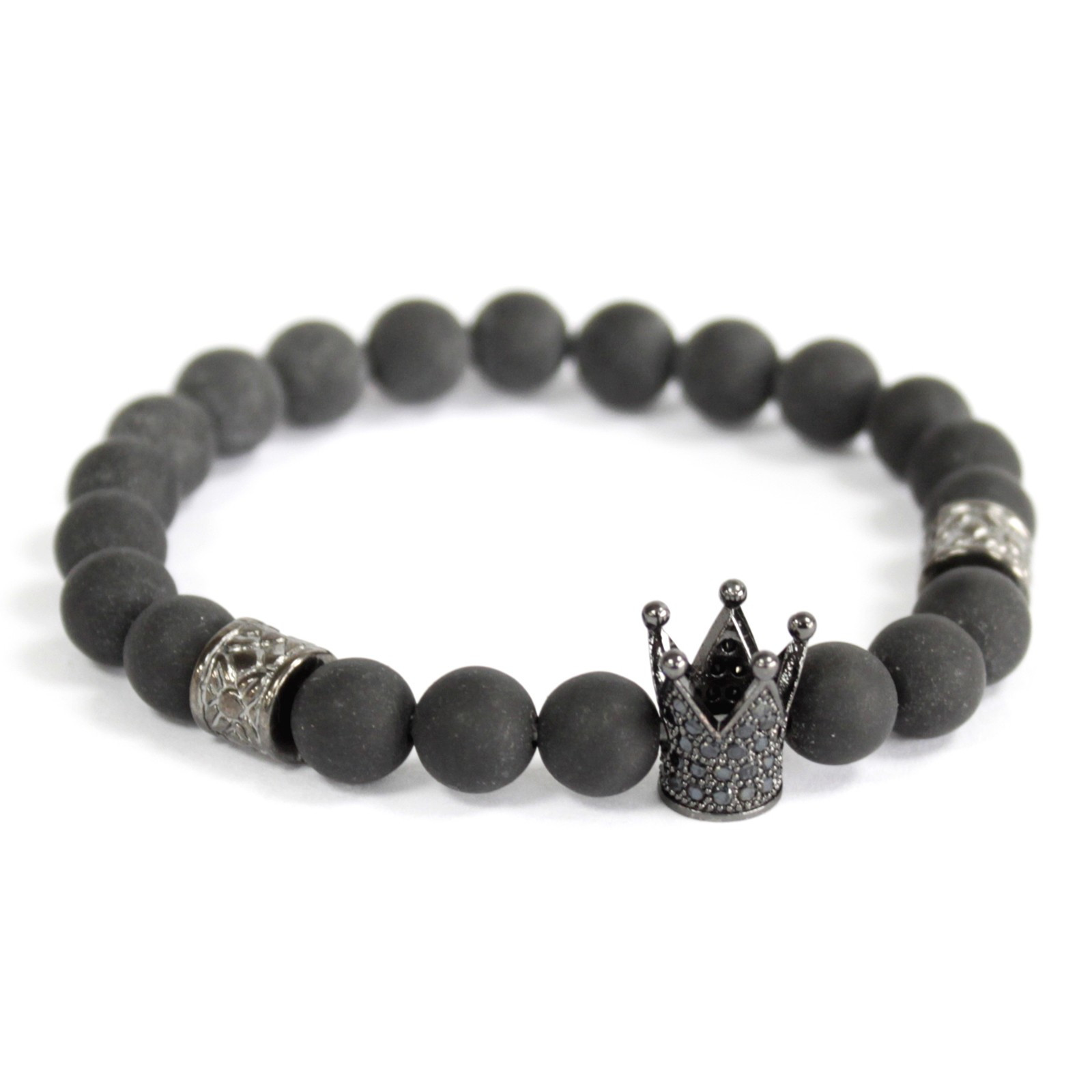 Corona de cristal / Ágata negra - Pulsera de piedras preciosas