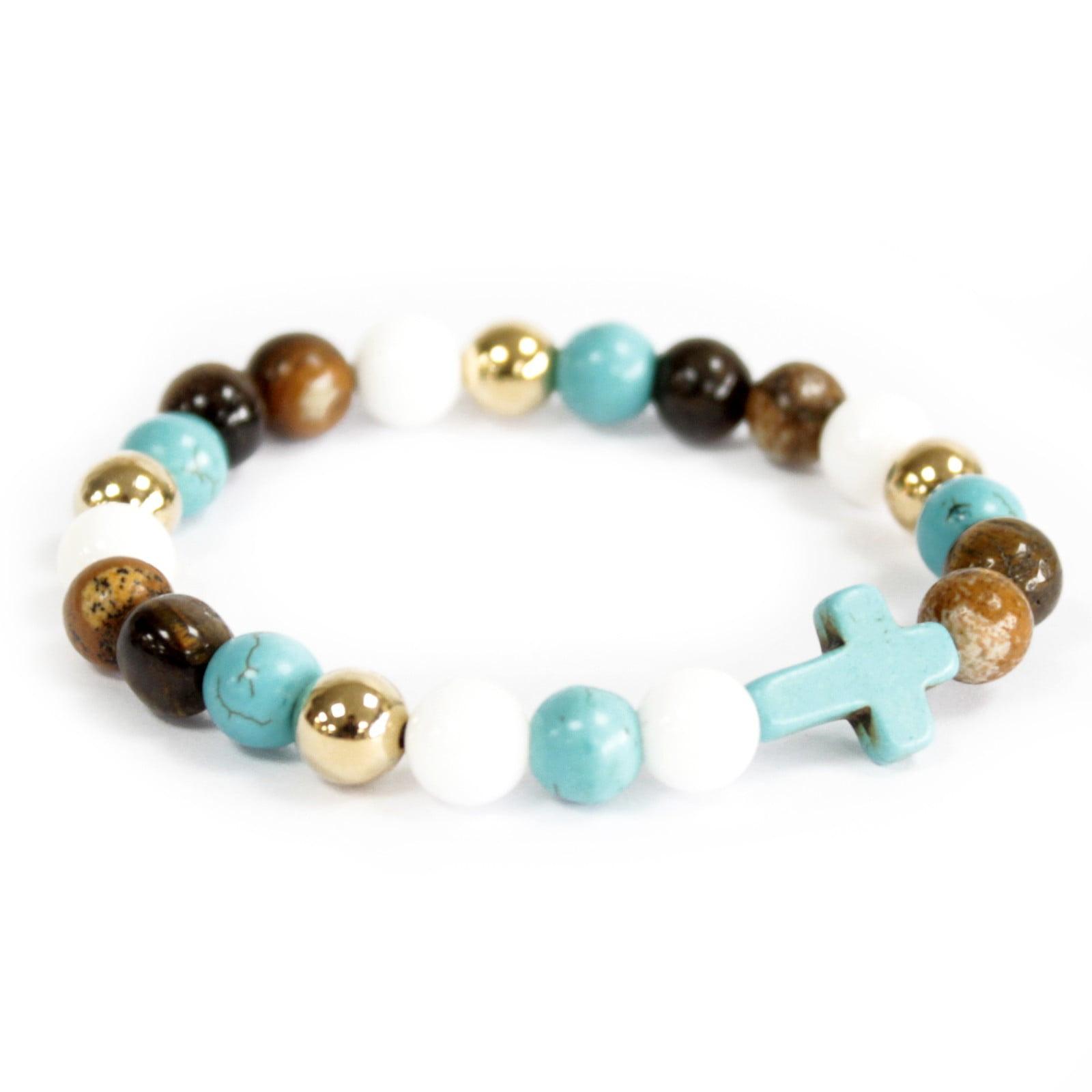 Turquoise Cross / Perlas reales - Pulsera de piedras preciosas